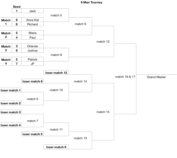 These brackets are for 3 to 13 person/team double elimination tournaments. They auto-fill from a seeding page.