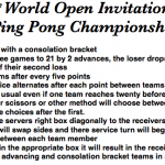 Use for a Ping Pong tournament.