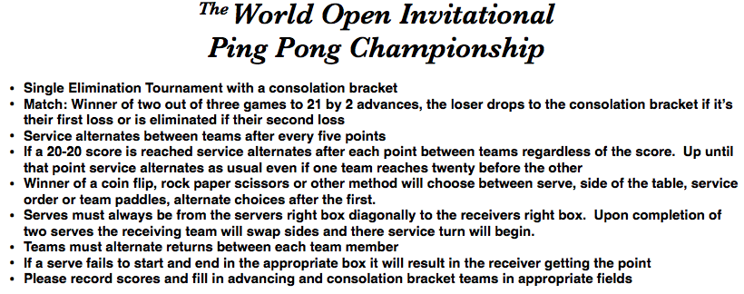 Ping Pong Tourney Rules